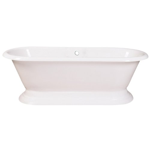 Kingston Brass VCTND723224 Cast Iron Double Ended Pedestal Bathtub without Faucet Drillings, 72-Inch, White