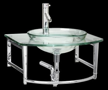 Glass Sinks Clear Glass Stainless 23 3 4 In W Console Haiku Wall Mount  Vessel Clear