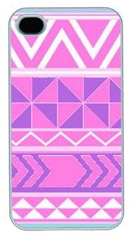 Pinterest Pink Aztec Tribal Patterns Customized Hard Shell White iphone 4/4s Case On Custom Service