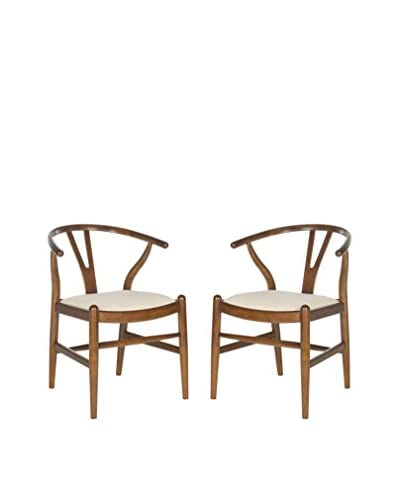 Safavieh Set of 2 Aramis Dining Chair, Antique Brown/Taupe