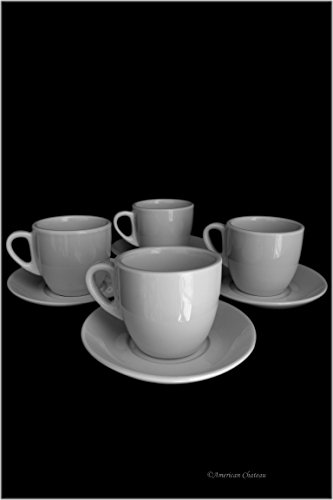 European Cafe Set 4 White Porcelain 8oz Coffee Latte Cappuccino Cups with Saucers (Cappuccino Cups 8 Oz compare prices)