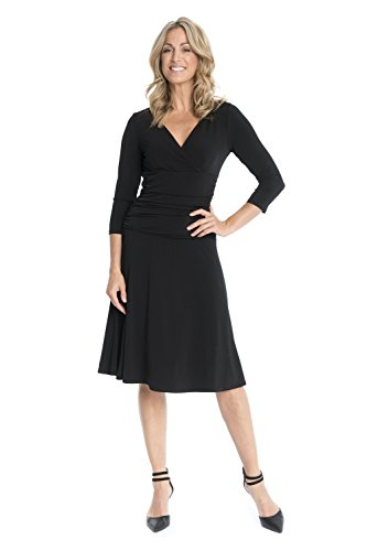 Rekucci-Womens-Slimming-34-Sleeve-Fit-and-Flare-Crossover-Tummy-Control-Dress
