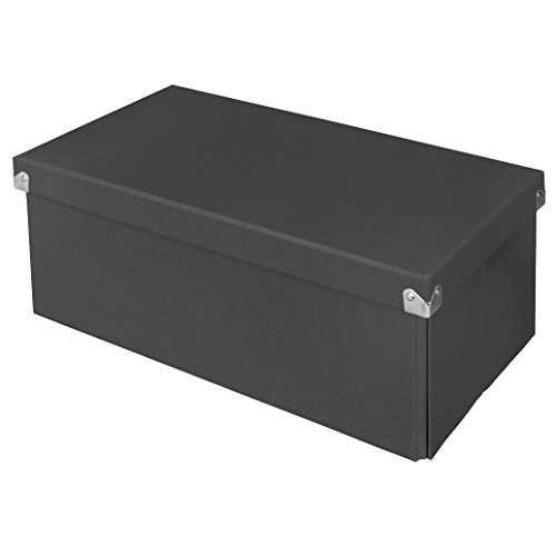 Pop n' Store Decorative Storage Box with Lid - Collapsible and Stackable - Essential DVD Storage Box- Gray - Interior Size (14.625