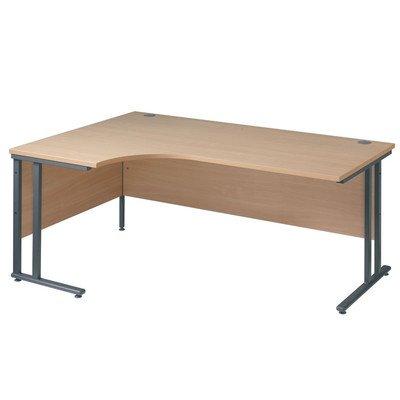 Maestro Ergonomic Desk with Feet Levellers Size: 160cm, Finish: Maple, Orientation: Right