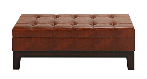Leather Spacious Storage Bench with Timeless Design
