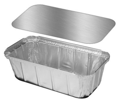 Handi-Foil 1 1/2 lb. Ivc Disposable Aluminum Foil Loaf Pan w/Foil Board Lid 25PK (pack of 25)