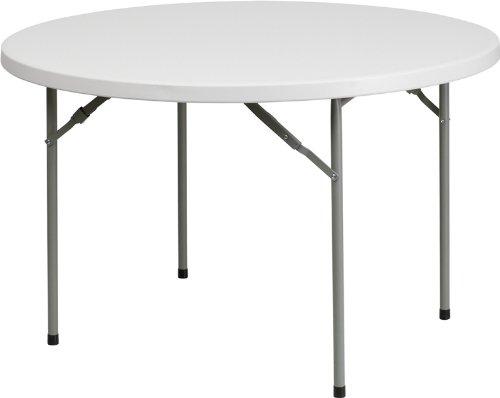 Flash Furniture 1.75-Inch Round Granite Plastic Folding Table, 48-Inch, White