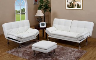 Furniture2go UFE-1080 Justine White Futon Set + Ottoman - Sofa, Loveseat, Ottoman - Synthetic Leather