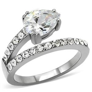 RIGHT HAND RING - High Polished Bypass Stainless Steel Ring Featuring a Single Pear Cut Clear CZ in a Prong Setting