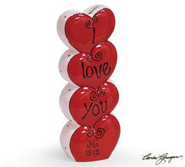 I Love You John 15:12 Stacked Hearts Vase You Are Loved