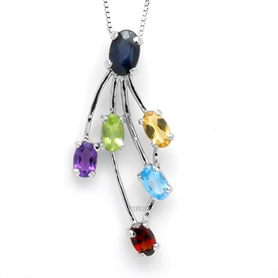 100% Big Genuine Amethyst Peridot Garnet Citrine Sapphire Blue Topaz 925 Silver White Gold Plating Necklace Gem Jewellery