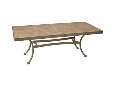 OW Lee Ceramic Top Wrought Iron Mocha Tile 48 x 24 Rectangular Patio Coffee Table Black Suede Finish