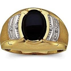 Men's Oval-Cut Onyx and Diamond Ring