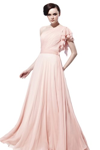 CharliesBridal Light Pink One Shoulder Formal Evening Dress with Lotus Leaf Sleeve - L - Light Pink