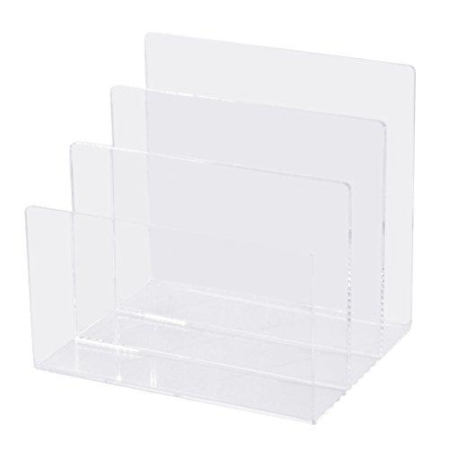Combinazione di vita per scrivania, in materiale acrilico trasparente, struttura retata, 3 sezioni, 6 X 8 1/2 X 1/2, colore: trasparente (AD45), Trasparente