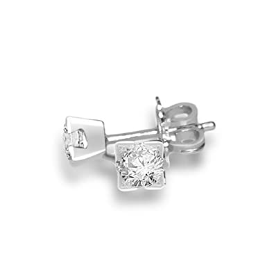 0.25ct G/SI1 Diamond Stud Earrings for Women with Round Brilliant Diamonds in 18ct White Gold