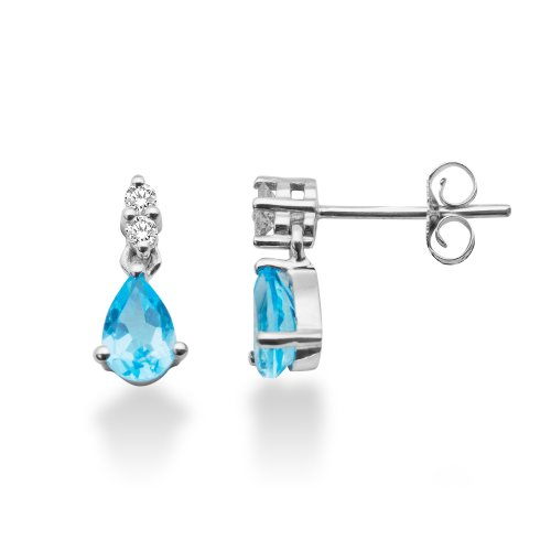 0.08 Carat Diamond  Blue Topaz Earrings in 9ct