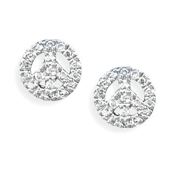 Rhodium Plated CZ Peace Sign Earrings