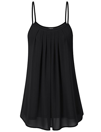 Laksmi Women's Casual Summer Sleeveless Blouse Tops, Black (Medium) (Spaghetti Strap Blouse compare prices)