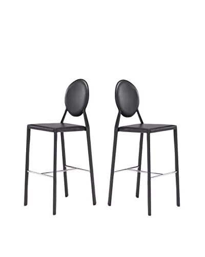 Zuo Modern Set of 2 Ville Marie Bar Chair, Black