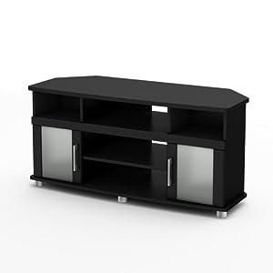 South Shore City Life Corner TV Stand in Pure Black