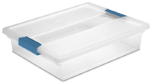 Sterilite 19638606 Large Clip Box, Clear with Blue Aquarium Latches, 6-Pack (Plastic Lid Large compare prices)