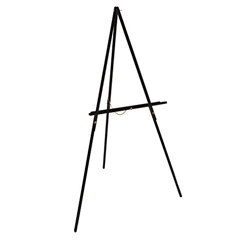 US Art Supply 64 inch High x 27-1/2 inch Wide Black Wooden Tripod Display Easel, Floor Easel, Artist Easel, Adjustable Tray Chain (Display Floor Easel compare prices)