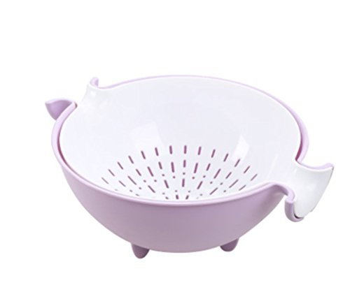 MagicMen Decorative Rotary Double Drain Basket Creative Kitchen Plastic Fruit Bowl Drain Water Basket Pink Blue Purple Green (Purple(9.8411.814.72inch)) (Creative Fruit Bowl compare prices)