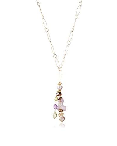 Indulgems Fireball Pearl, Kunzite, Smoky Quartz, Pink & Green Amethyst Long Tassel Necklace