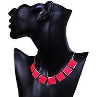 Bold N Elegant Pink Enamel Square Shaped Necklace