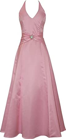 Satin Halter Dress Crystal Pin Prom Holiday Gown Formal Bridesmaid, XL, Pink