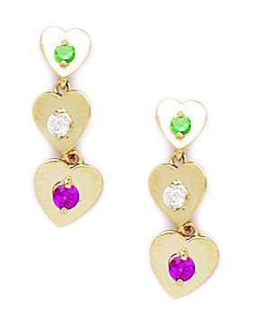 14ct Yellow Gold Red and Green CZ 3 Heart Drop Screwback Earrings - Measures 19x7mm