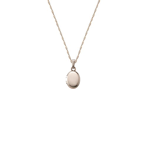 Children's 14k Small Oval Polished Locket Necklace, 13