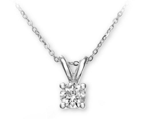9ct White Gold Ladies' 33pt Single-Stone Diamond Pendant + 46cm White Gold Trace Chain