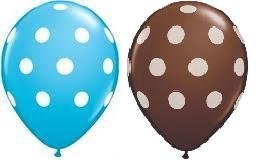 24 Assorted Balloons - Blue with White Polka Dots and Brown with White Polka Dots