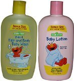 Sesame Street Hair and Body Baby Wash and Baby Lotion Bonus Size Combo Pack - 1