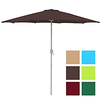 Best Choice Products 9ft Aluminum Outdoor Umbrella Patio umbrella w/crank Tilt-Brown
