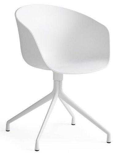 HAY About a Chair 20 Drehstuhl mit Armlehnen, weiß Gestell aluminium pulverbeschichtet weiß mit Kunststoffgleitern