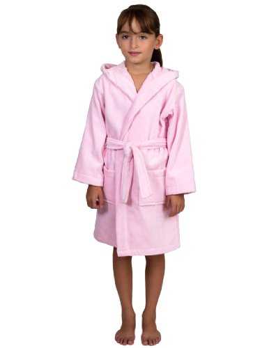 TowelSelections Turkish Cotton Kids Bathrobe Hooded Terry Velour Robe for Boys and Girls Small Pink