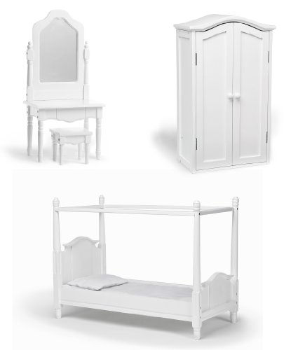 18 Inch Doll Canopy Bed, Vanity & Armoire Bedroom Set
