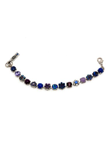 Rhodium Plated Bracelet from 'Rainy Skies' Collection Created by Amaro Jewelry Studio with Amethyst, Sodalite, Lapis Lazuli, Lavender, Blue Agate, Purple Jade, Blue Abalone, Blue Cat's Eye and Swarovski Crystals, Garnished with Flower and Heart Details