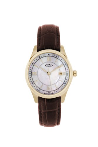Rotary Ladies Analogue Watch LS42837/41 with White Roman MOP Dial and Brown Leather Strap