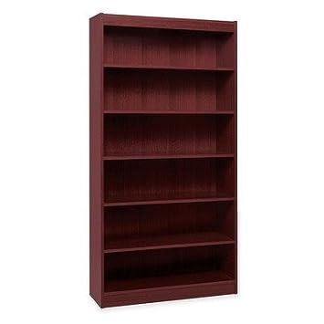 Lorell Panel End Mahog. Hardwood Veneer Bookcases-6 Shelf Panel Bookcase, 36quot;Wx12quot;Dx72quot;H, Mahogany