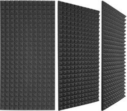 Three different views of a Auralex Studiofoam Pyramid Panel (2 foot x 4 foot)