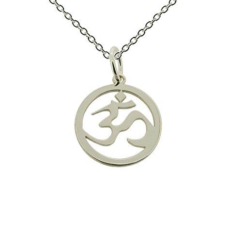 """In argento Sterling 925 solido, Ohm Om Aum con pendente Hindu Yoga opzionale con catena brillantata, 1,2 mm, in confezione regalo (disponibile in 40,64 cm (16"""") a (24 60,96 cm), argento, colore: argento, cod. OM-15MM-SILVER-1_2-TRACE-24"""