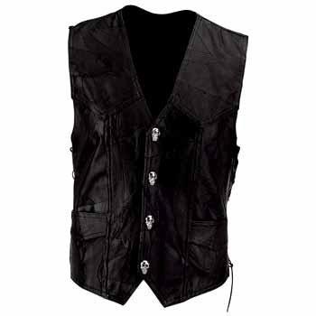 Diamond Plate  Leather Vest with Skull Patch Black, BLACK, 3XL
