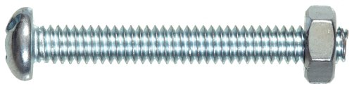 The Hillman Group 7653 Round Head Combo Machine Screw With Nut, 6-32-Inch X 3/4-Inch, 10-Pack front-638822