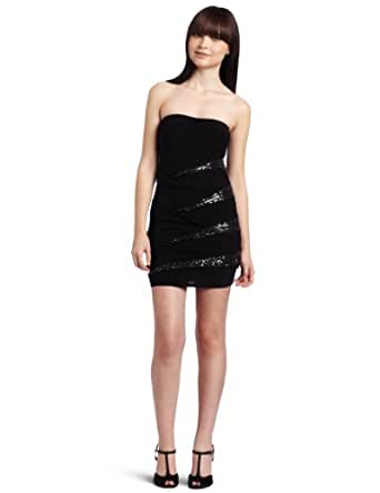 Just For Wraps Juniors Strapless Mini Dress with Sequins, Black, Small