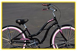 Aluminum Alloy Anti-Rust Frame, Fito Brisa Alloy 3-speed - Metallic Black/Hot Pink, women's Beach Cruiser Bike Bicycle, Shimano Nexus Equipped