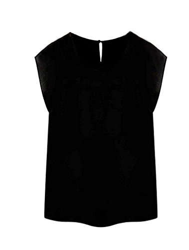 FACE N FACE Women's Silk Chiffon Short Sleeve Summer Shirt Ladies Tops Blouses X-Large Black (Silk Top compare prices)